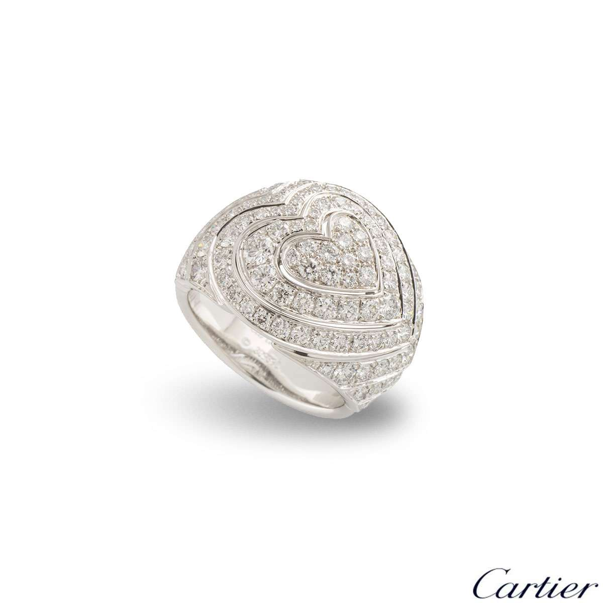 Cartier White Gold Diamond Heart Ring 1.67ct G+/VS+